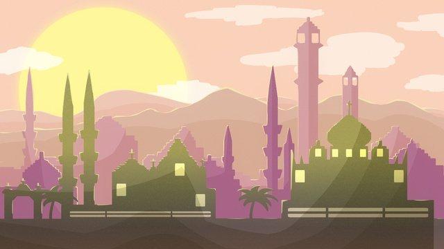 city landmark building silhouette arab desert illustration llustration image illustration image