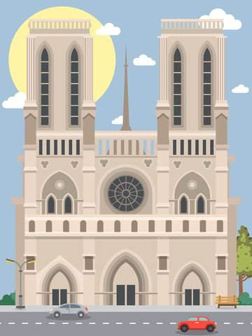 City silhouette of notre dame de paris, City Silhouette, Famous Landmark, Notre Dame De Paris illustration image