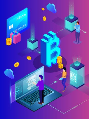 Financial bitcoin 2.5d breathable vector illustration, Financial, Bitcoin, 2.5d illustration image