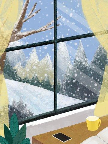 12 월의 창 밖에서의 안녕하세요 설경 삽화 소재 삽화 이미지