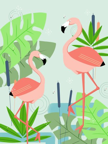 Trend natural imprint elegant pink flamingo llustration image