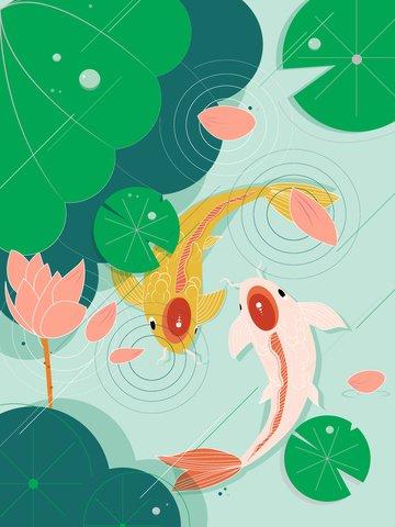 Natural imprint fish in lotus pond, Natural Imprint, Fish, Carp illustration image