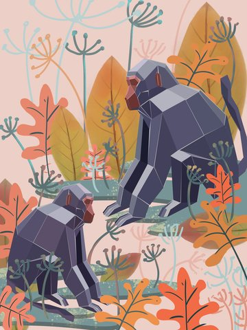 Nature imprint woods leaves plant animals monkey creek water, Natural Imprint, Forest, Leaf illustration image