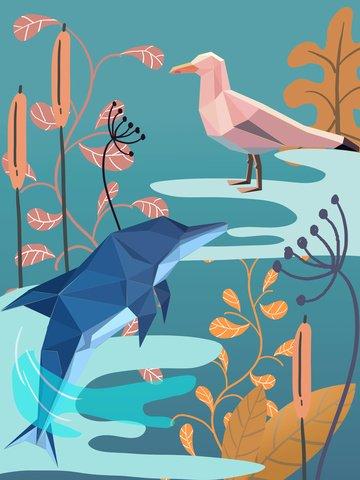 Impressão natural geométrica criativa animal planta decoração golfinho oceano aves aquáticasImpressão  Natural  Geometria PNG E PSD illustration image