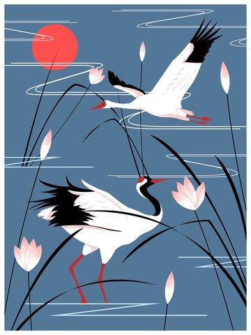 Natural imprint illustration white crane in the lake, Natural Imprint, White Crane, Crane illustration image