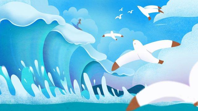 바다 자연 풍경 치료 그림 삽화 소재