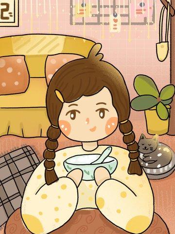 Happy winter solstice cute cartoon little girl eating dumpling house llustration image illustration image