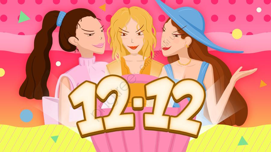 Double twelve theme girl shopping spree, 1212, Double Twelve, Girl llustration image