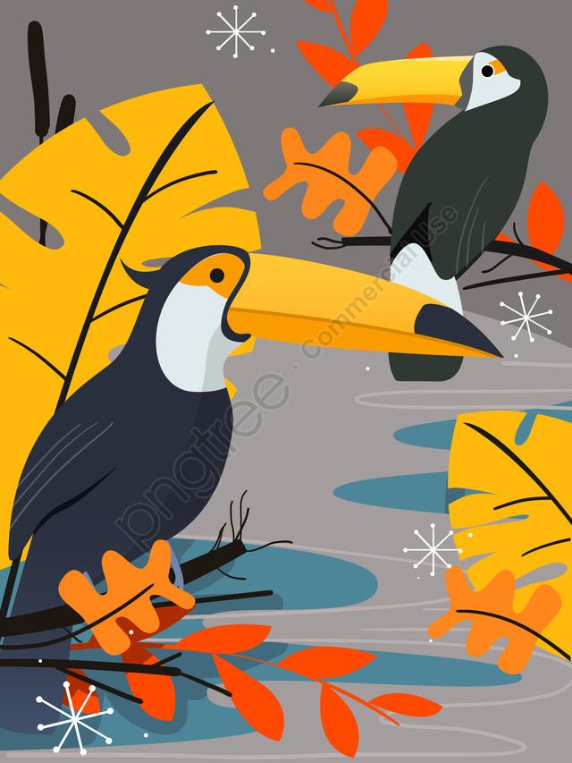 Животное птица растение лист попугай природа простой плоский отпечаток иллюстрация, животное, птицы, завод llustration image