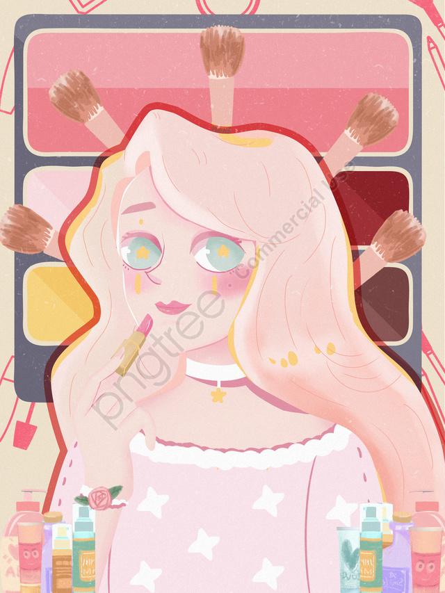 Beautiful Girl Beauty Makeup Illustration, Beautiful Girl, Makeups, Lovely llustration image