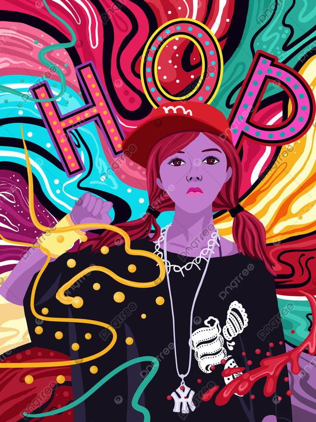 流れるキャンディーカラーのヒップホップの女の子シリーズイラスト, キャンディーカラー, カラフルな, 流れる色 llustration image