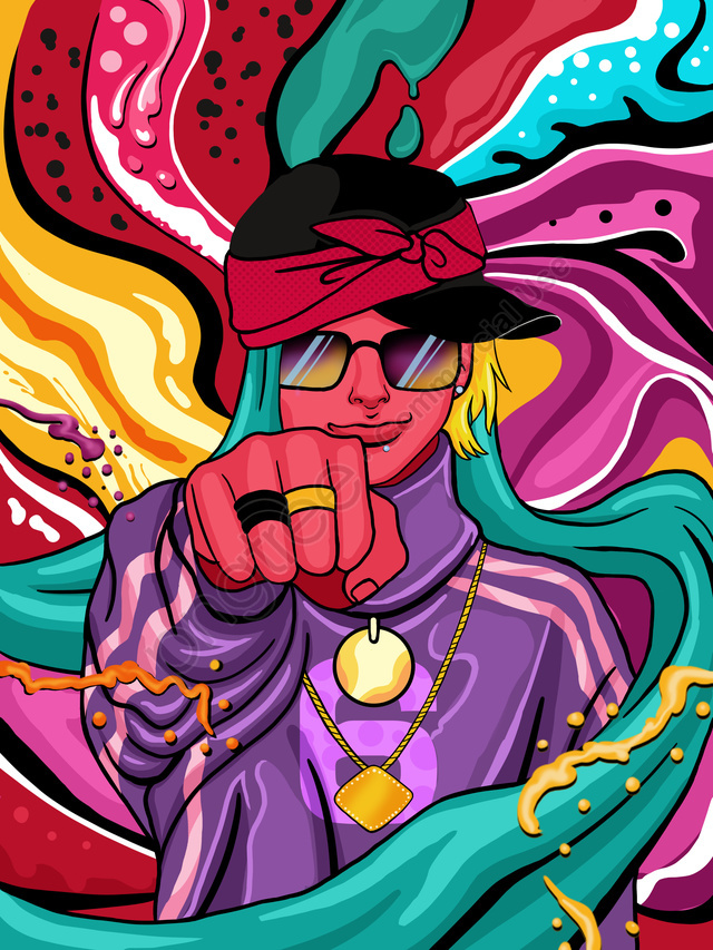 Flowing candy color hip hop boy series illustration, Couleur Bonbon, Couleur Qui Coule, Coloré llustration image