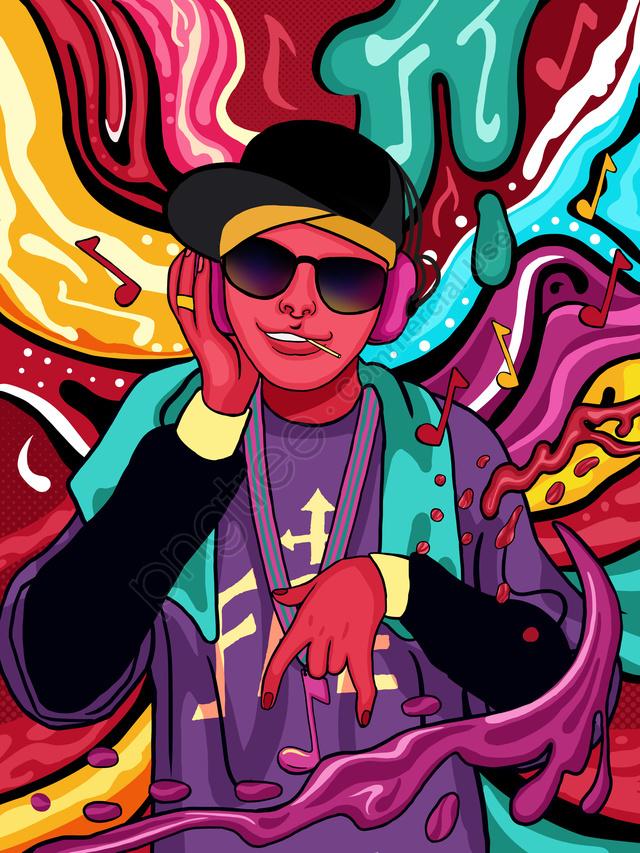 Fluindo Doce Cor Hip Hop Menino Ouvindo Música Ilustração, Cor Dos Doces, Cor Fluindo, Garoto De Hip Hop llustration image