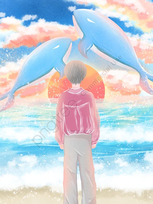 Whee Illustrator Sea Blue Lihat Whale Swimsuit Girl Seaside Watching, Penyembuhan, Laut, Seaside llustration image