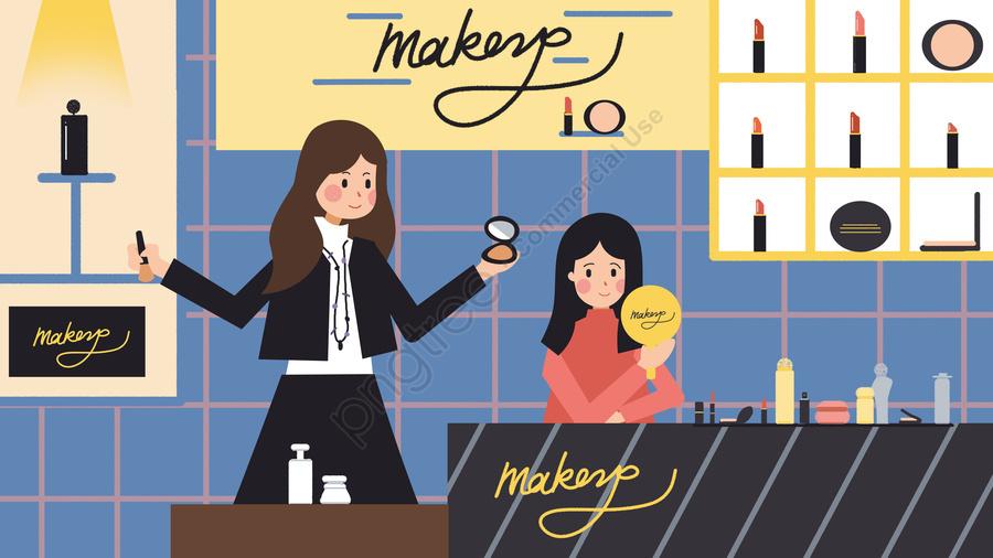 Fashion Makeup Lipstick Foundation Girl Illustration, Fashion, Lipstick, Foundation llustration image