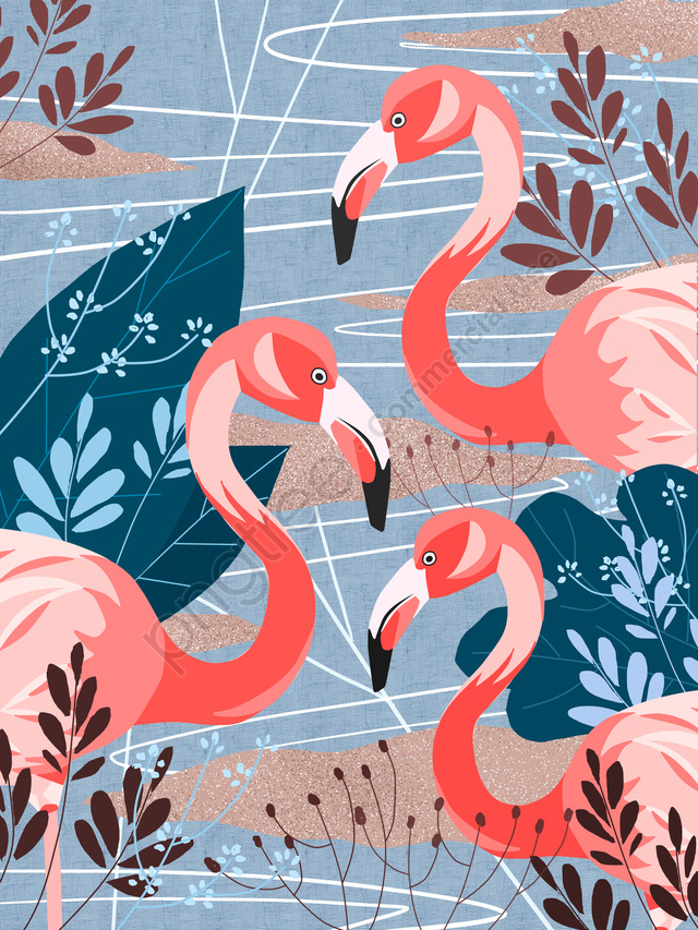 Flamingo Natural Imprint Simple Flat Original Illustration, Flamingo, Bird, Animal llustration image