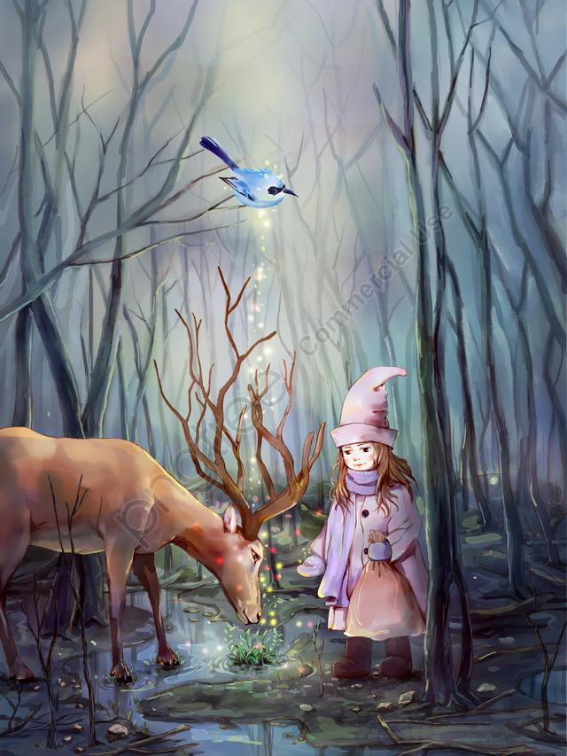 मूल छोटे ताजा चित्रण लिन शेन और हिरण, लड़की, मृग, वन llustration image