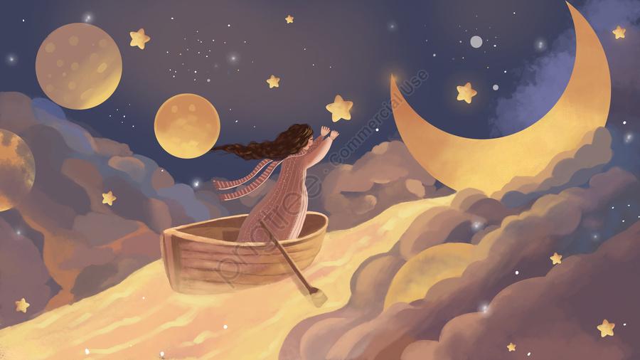 月の星空治療黄色イラストに触れる少女, 少女, 月, 星空 llustration image