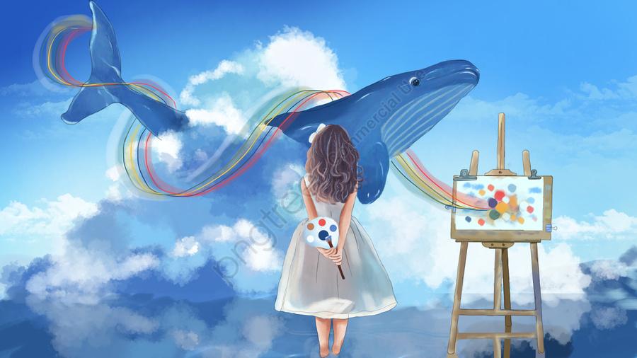 فتاة مع لوحة رسم البحر الأزرق انظر التوضيح الحوت, فتاة, دفتر الرسم, فرشاة llustration image