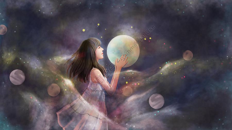 オリジナル癒し系イラストファンタジー少女星空, 少女, 星空, 月 llustration image