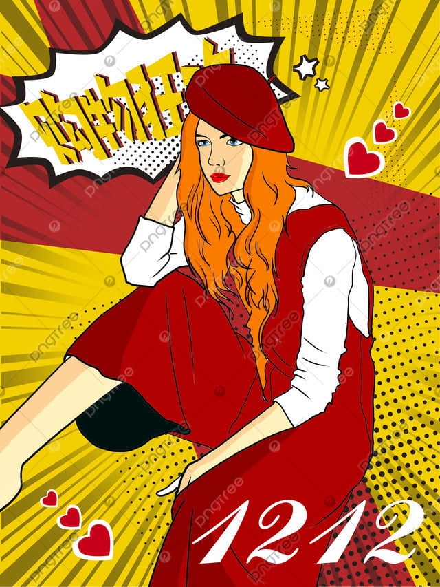 Original pop style illustration fashion girl, Girl, Womens Clothing, Shopping Spree llustration image