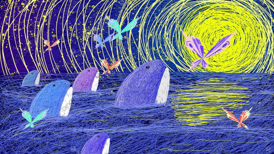 Healing Illustration Of The Song Deep Sea Whale, Healing, Coil, Whale llustration image