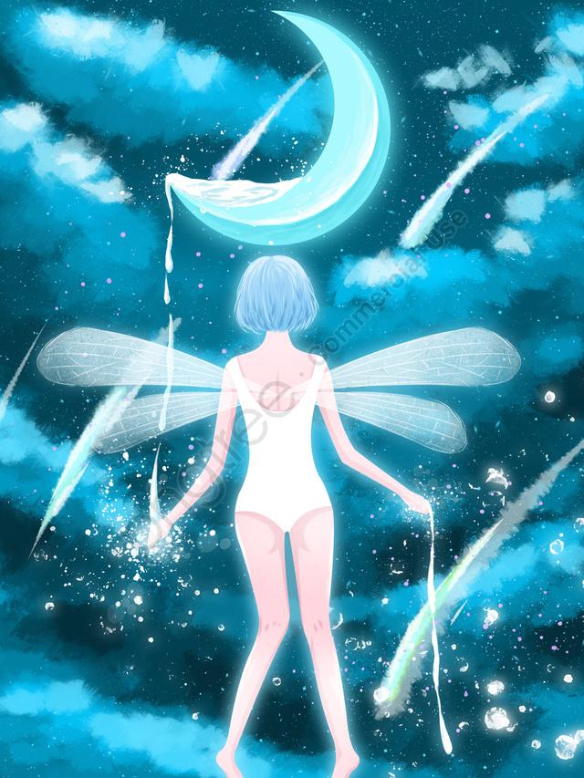 星空のエルフの女の子, 癒し系, 星空, 月 llustration image
