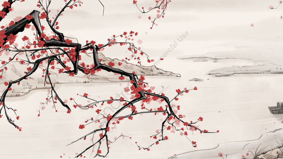 中華風インク風景川岸梅の花のイラストpsd, インク, 中華風, 梅の花 llustration image