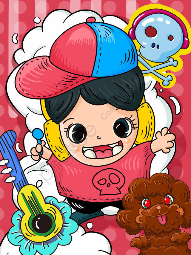 Tide Cartoon Love Music Doodle Cute Mobile Phone Wallpaper