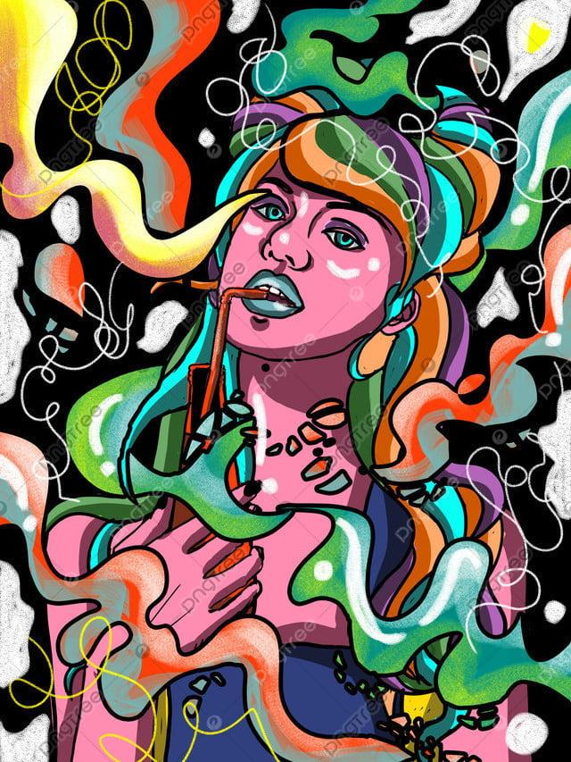 キャンディの色を流して飲み物を飲む多彩な女の子の色がパンクします, 雲, パブリックナンバー, オリジナル llustration image