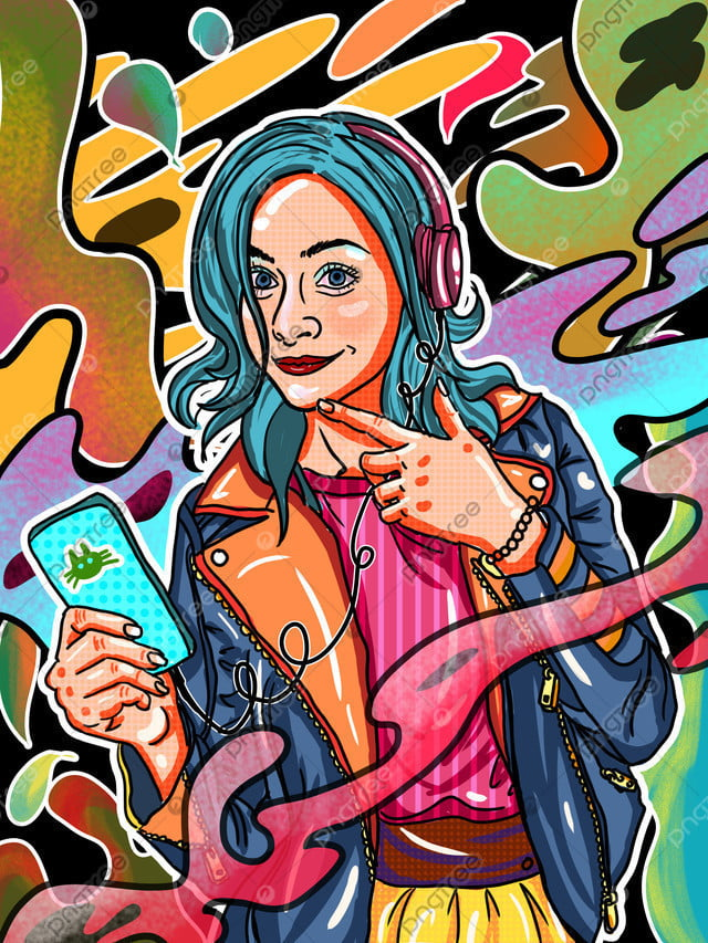 मोबाइल कैंडी रंग सुन संगीत हेडफोन जंगली पंक लड़की पट्टी फोन दृश्य चित्रण, मोबाइल कैंडी रंग, संगीत सुनना, हेडसेट llustration image