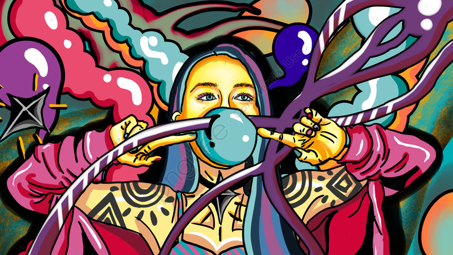 Flowing Candy Color Wild Gorgeous Tattoo Fashion Blowing Bubble Girl, Mobile Candy Color, Wild, Gorgeous llustration image