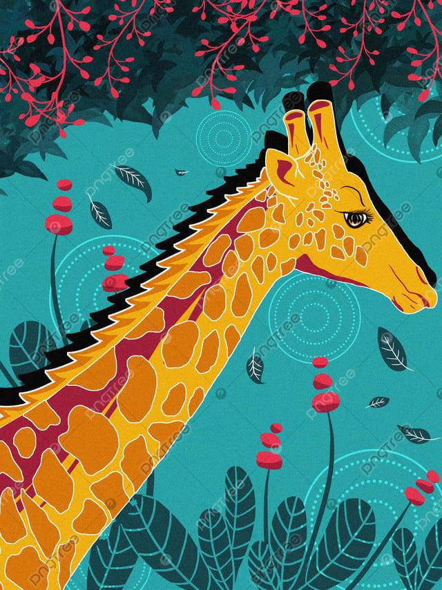 Naturally Imprinted Giraffe Cure Illustration, Natural Imprint, Flowers, Giraffe llustration image