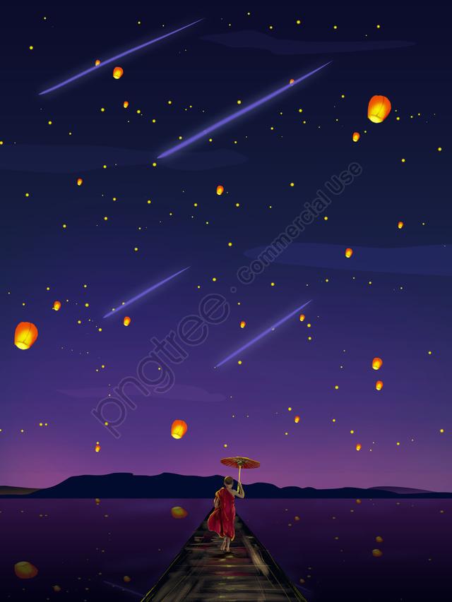 Night Starry Cure Department Illustrator Small Monk Watching Aestheticism Light, Langit Berbintang Malam, Ilustrasi Penyembuhan Sistem, Little Monk Watching Lights llustration image