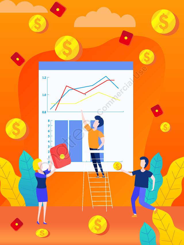Оригинальная ручная роспись финансового менеджмента Flat Wind, Оригинальная рисованная иллюстрация, Финансовый менеджмент, Плоский ветер llustration image