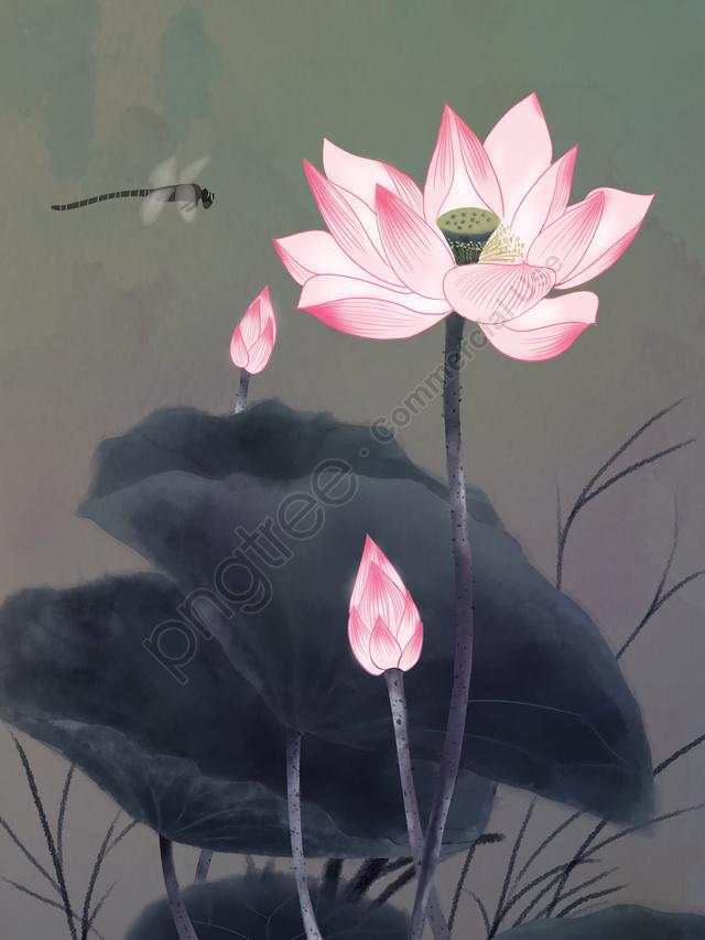 中華風レトロインクイラスト, レトロ, ロータス, インク llustration image