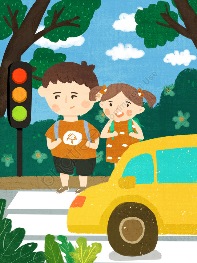 安全な旅行、文明化された交通、通りを渡る子供たち、オリジナルの手描きイラスト, 安全な旅行, 文明化された交通, 子供たち llustration image