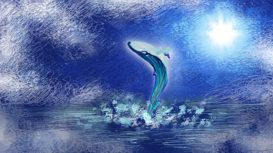 When The Sea Is Blue See Whale On Surface, See The Whale When The Sea Is Blue, Sea Surface, Whale llustration image
