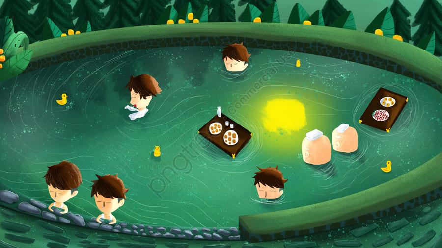 露天風呂温泉, 温泉, 冬, 食べ物 llustration image
