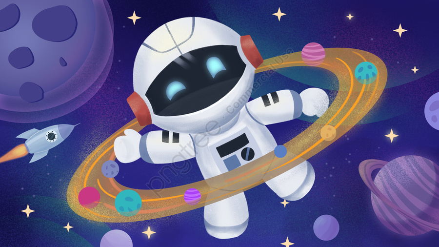Beautiful Galaxy Cosmic Robot Space Adventure Waved Illustration, Space, Universe, Planet llustration image