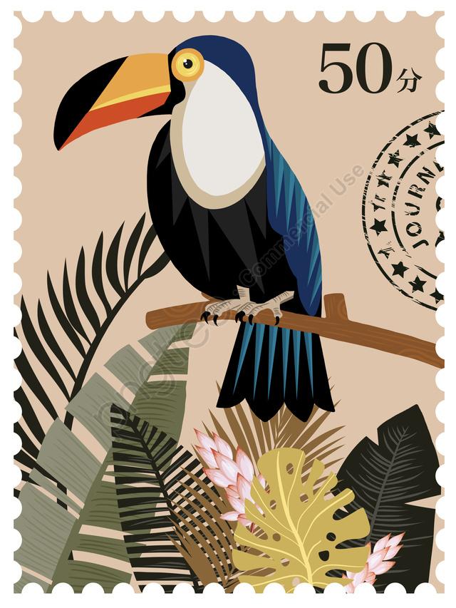 Vintage stamp natural imprint tropical animal plant illustration, Ilustração Vintage, Selo Medieval, Planta Tropical llustration image