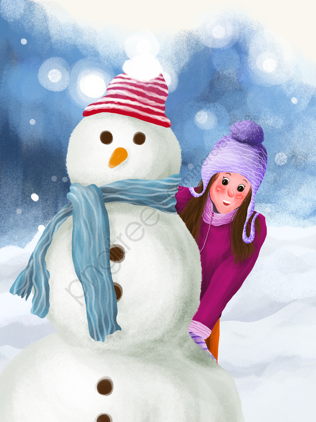 Winter Whisper Beautiful Fresh Outdoor Snowman And Girl, Winter Whisper, Beautiful, Fresh llustration image