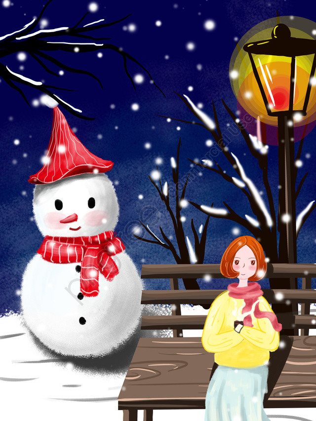 Winter Whisper Girl Under The Street Light, Winter, Winter, Winter Whisper llustration image