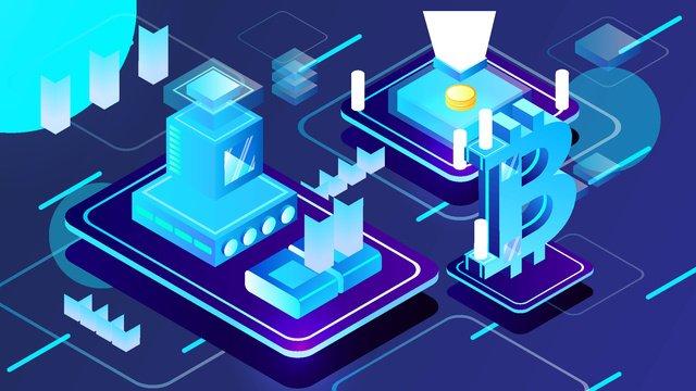 2 5d dark blue technology finance bitcoin business vector illustration llustration image illustration image