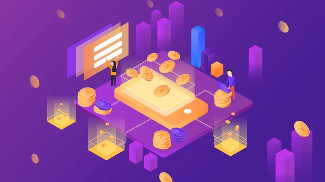 Dazzling financial technology 2.5d vector breathable illustration, 2.5d, Background, Illustration illustration image