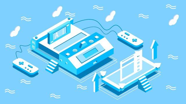 original 2 5d future technology blue style vector illustration llustration image