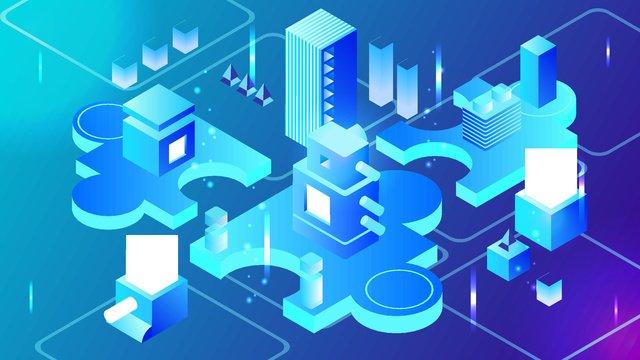 2.5d blue business technology future vector illustration, 25d, 25d, 2.5d illustration image