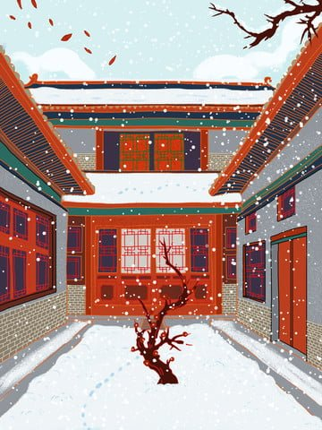 ancient architecture chinese style new year snow scene illustration llustration image
