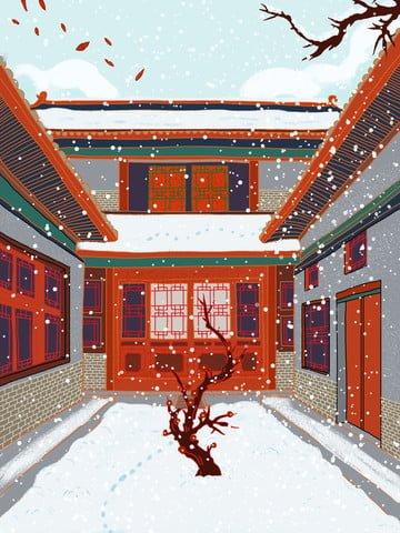 고 대 건축 중국 스타일 설날 설 경 그림 삽화 소재 삽화 이미지