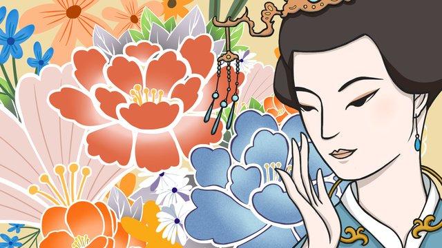 고대 미용 꽃 본질 스킨 케어 삽화 소재